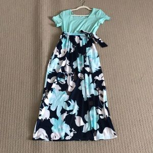 Floral Maxi Dress in Mint & Navy
